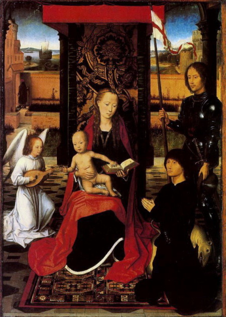 1474-79 Hans_Memling_The_Virgin_and_Child_with_Angel_Saint_Georges_and_Donor_