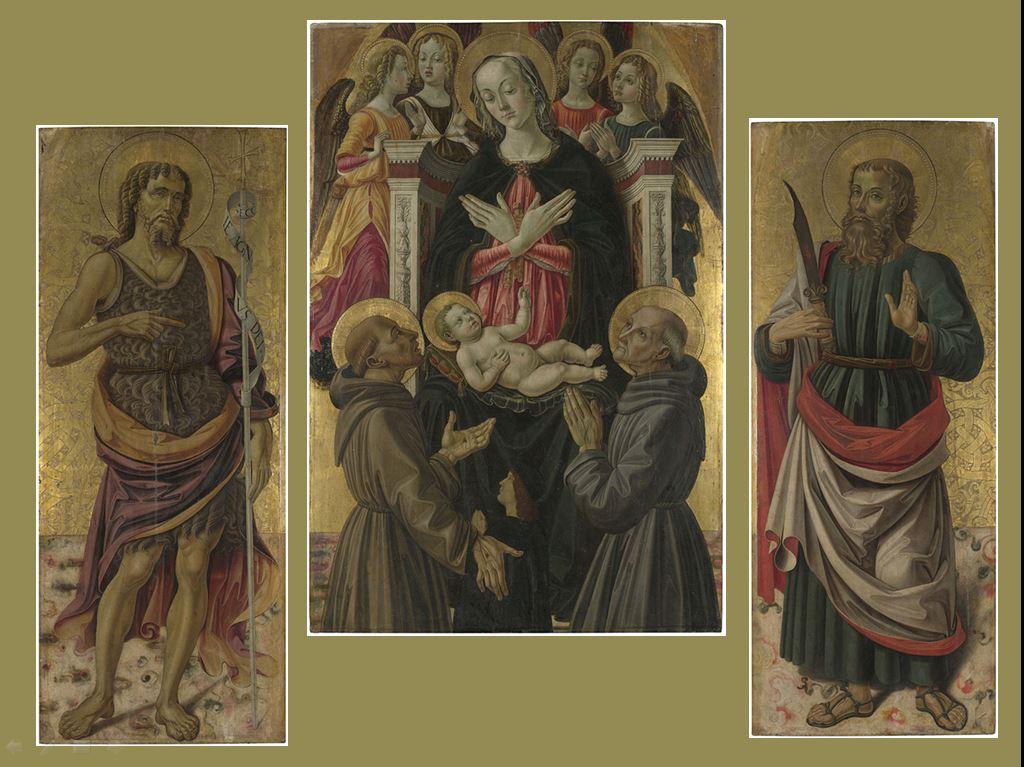 1475-80 Bartolomeo Caporali, san Francesco d'Assisi, san Bernardino da Siena, donatore e angeli, San Giovanni Battista, San Bartolomeo National Gallery