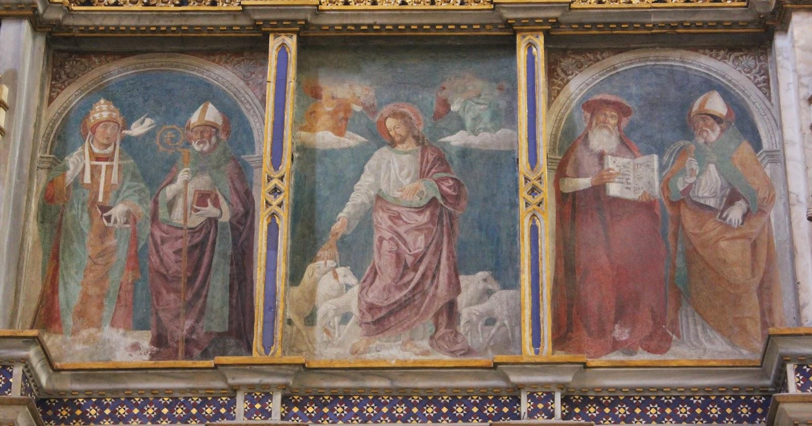 1475-99 Antoniazzo Romano Bon pasteur St. Gregoire Augustine, Jerome Ambroise Basilica di S. Giovanni in Laterano,