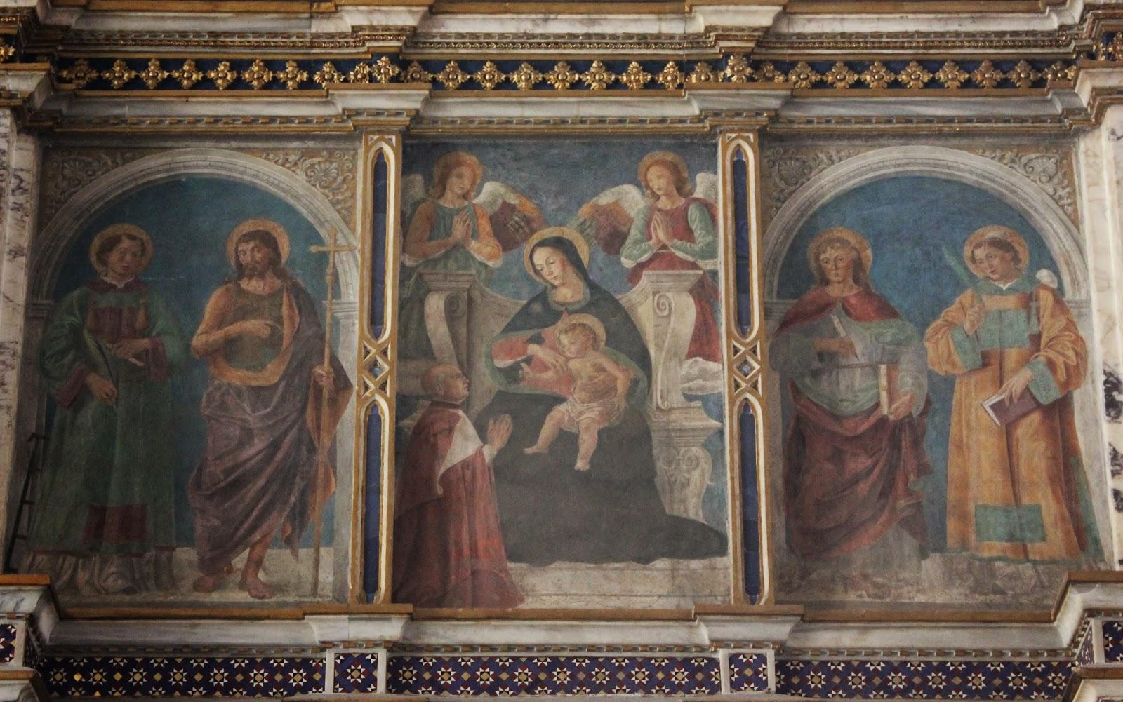1475-99 Antoniazzo Romano St. Laurent, Jean Baptiste, Evang, Etienne,fresques du ciborium de Basilica di S. Giovanni in Laterano,