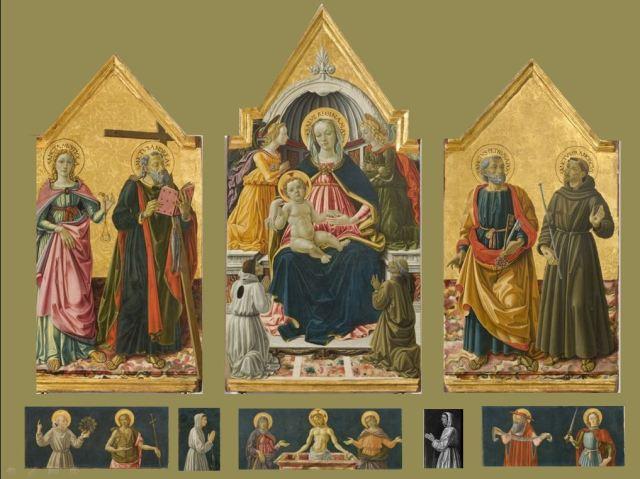 1475 Bartolomeo Caporali e Sante d'Apollonio del Celandro trittico della justizia Galerie Nationale Perouse