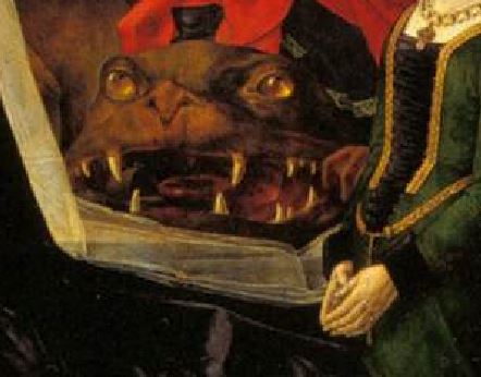1475 Hugo_van_der_Goes Triptyque Portinari Offices Florence panneau droit detail dragon