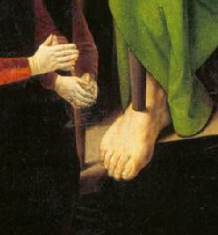 1475 Hugo_van_der_Goes Triptyque Portinari Offices Florence panneau gauche detail