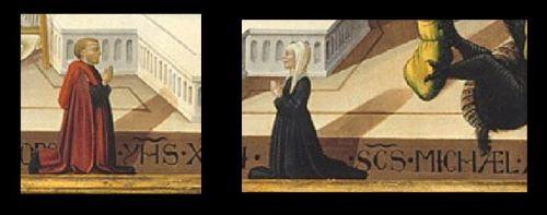1475 Neri di Bicci, san Biagio, san Michele Arcangelo e donatori, Montreal Museum of Fine Arts detail