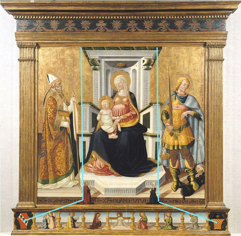 1475 Neri di Bicci, san Biagio, san Michele Arcangelo e donatori, Montreal Museum of Fine Arts schema
