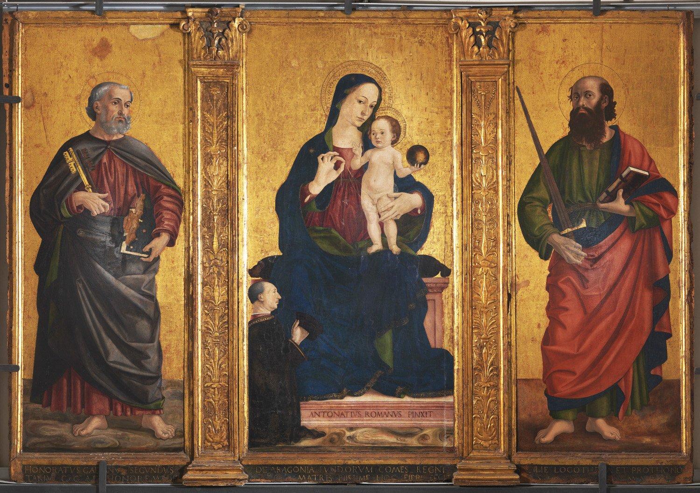 1476 Antoniazzo Romano, Madonna col Bambino e i Ss. Pietro e Paolo , chiesa di San Pietro Apostolo, Mausoleo Cajetani Fondi