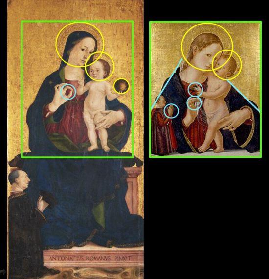 1476 Antoniazzo Romano, Madonna col Bambino e i Ss. Pietro e Paolo schema