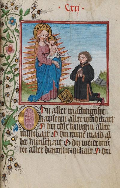 1476 Der Graf von Waldburg kniet vor der Madonna im Strahlenkranz; illuminierte Seite aus dem Waldburg-Gebetbuch, WLB Stuttgart, Cod. brev. 1