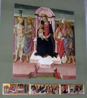 1480-85 Maestro di San Miniato, san Sebastiano, san Giovanni Battista, un santo vescovo, san Rocco cappella degli Armaleoni Chiesa di S. Domenico