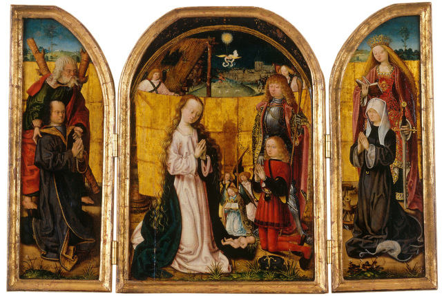 1480 Meister des Bartholomaus-Altars Triptychon Andre Hippolyte Catherine famille Holzhausen supp wallraf Richards Cologne