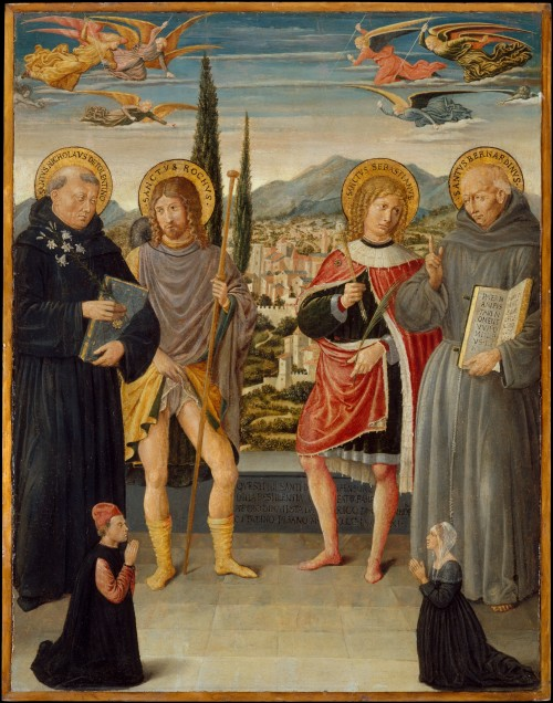 1481 Benozzo Gozzoli Saints Nicholas of Tolentino, Roch, Sebastian, and Bernardino of Siena, with Kneeling Donors MET