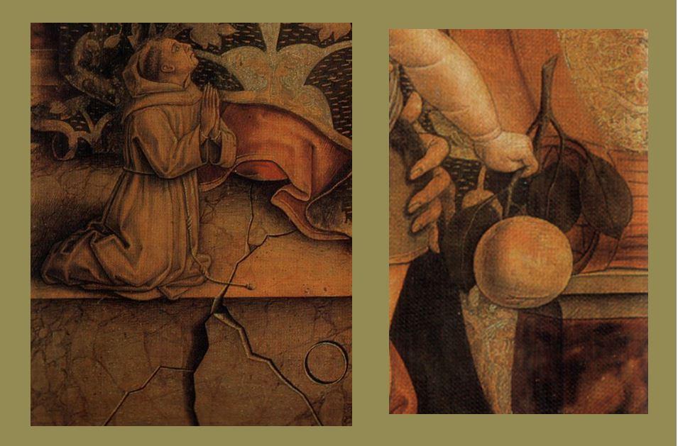 1482 Crivelli,_Madonna_col_Bambino_e_piccolo_frate_francescano_orante Pinacoteca Vaticano detail franciscain