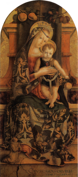 1482 Crivelli,_Madonna_col_Bambino_e_piccolo_frate_francescano_orante Pinacoteca Vaticano
