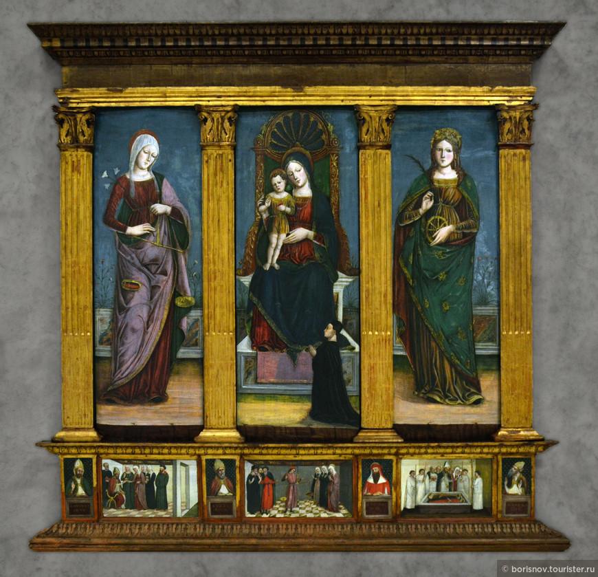 1485-90 Maestro del Cespo di Garofani Santa Maria Consolatrice Caterina d'Alessandria castelvecchio-verona