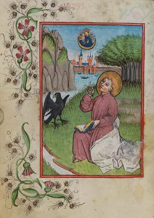 1486 Johannes auf Patmos, illuminierte Seite aus dem Waldburg-Gebetbuch, WLB Stuttgart, Cod. brev. 12, fol. 34v