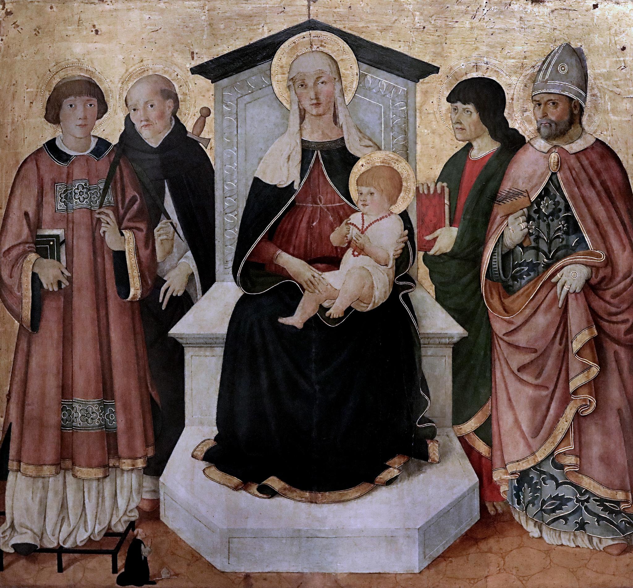 1490 ca Pier-Francesco-Fiorentino-Saint Laurent, saint Pierre Martyr, saint Jean Saint Blaise eveque dominicain Petit Palais Avignon