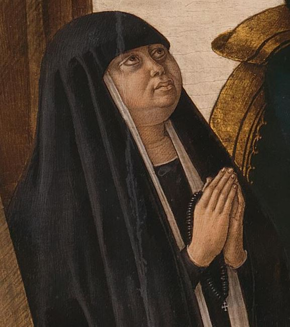 1491 Crivelli Saints Francis and Sebastian avec donatrice Oradea Becchetti, National Gallery donatricel