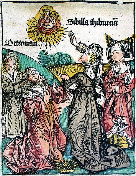 1493 Nuremberg_Chronicle_-_Tiburtine_Sibyl_ planche XCIII
