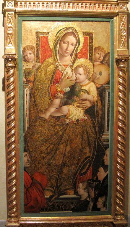 1494-1518 Fasolo Lorenzo, Madonna con Bambino in trono, angeli e donatori coll priv