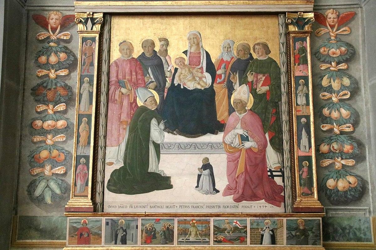 1494 PIER FRANCESCO FIORENTINO donateur FR LAVRENTI BARTHOLI chiesa di S. Agostino San Gimignano
