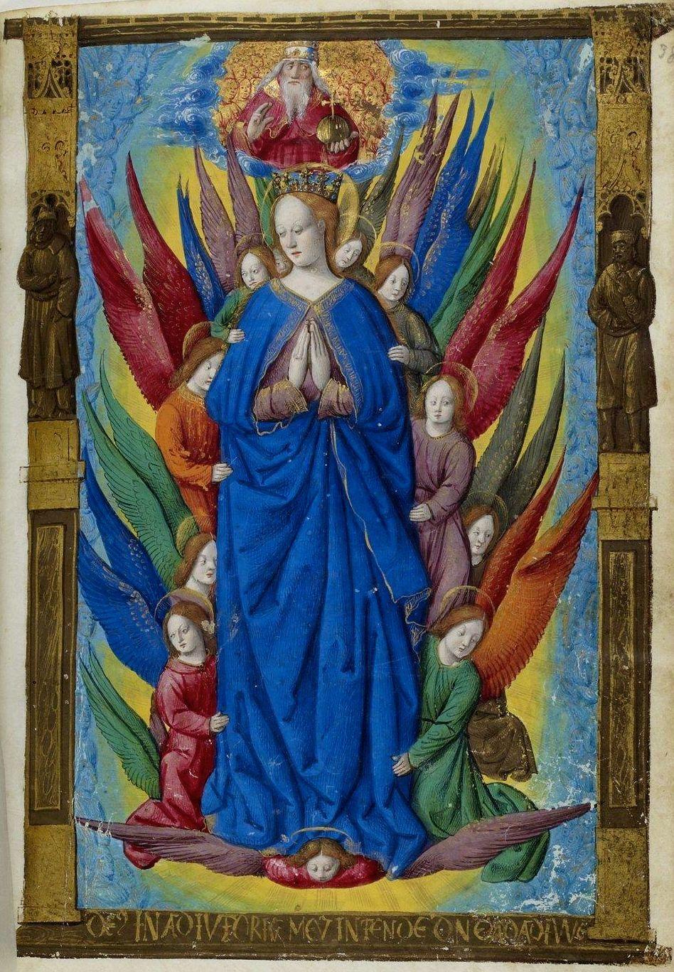 1500-05 Maitre des Triomphes de Petrarque Petites Heures d'Anne de Bretagne Gallica BNF NAL 3027 fol38r_Marie_en_gloire