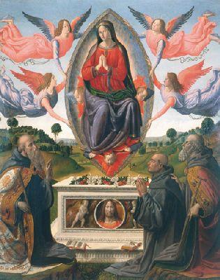 1500-10 Cosimo Rosselli Assunzione san Giovanni Gualberto, san Antonio e donatore Museo di arte sacra Beato Angelico, Vicchio