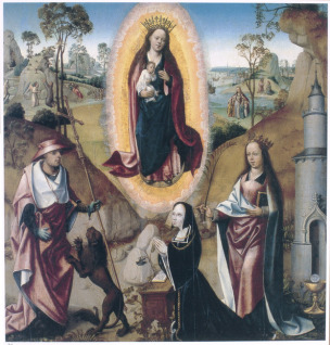 1500-24 Mary with child in a mandorla, SS Hieronymus and Barbara with a founder coll priv
