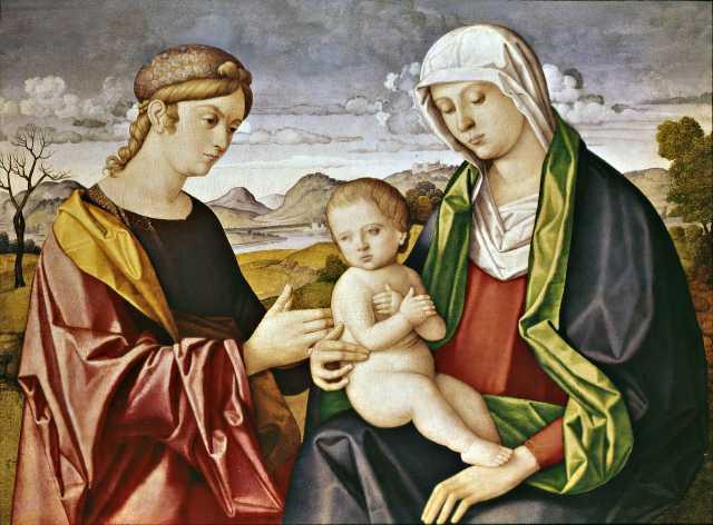 1500-31 Catena Vincenzo, Madonna con Bambino e donatrice coll priv