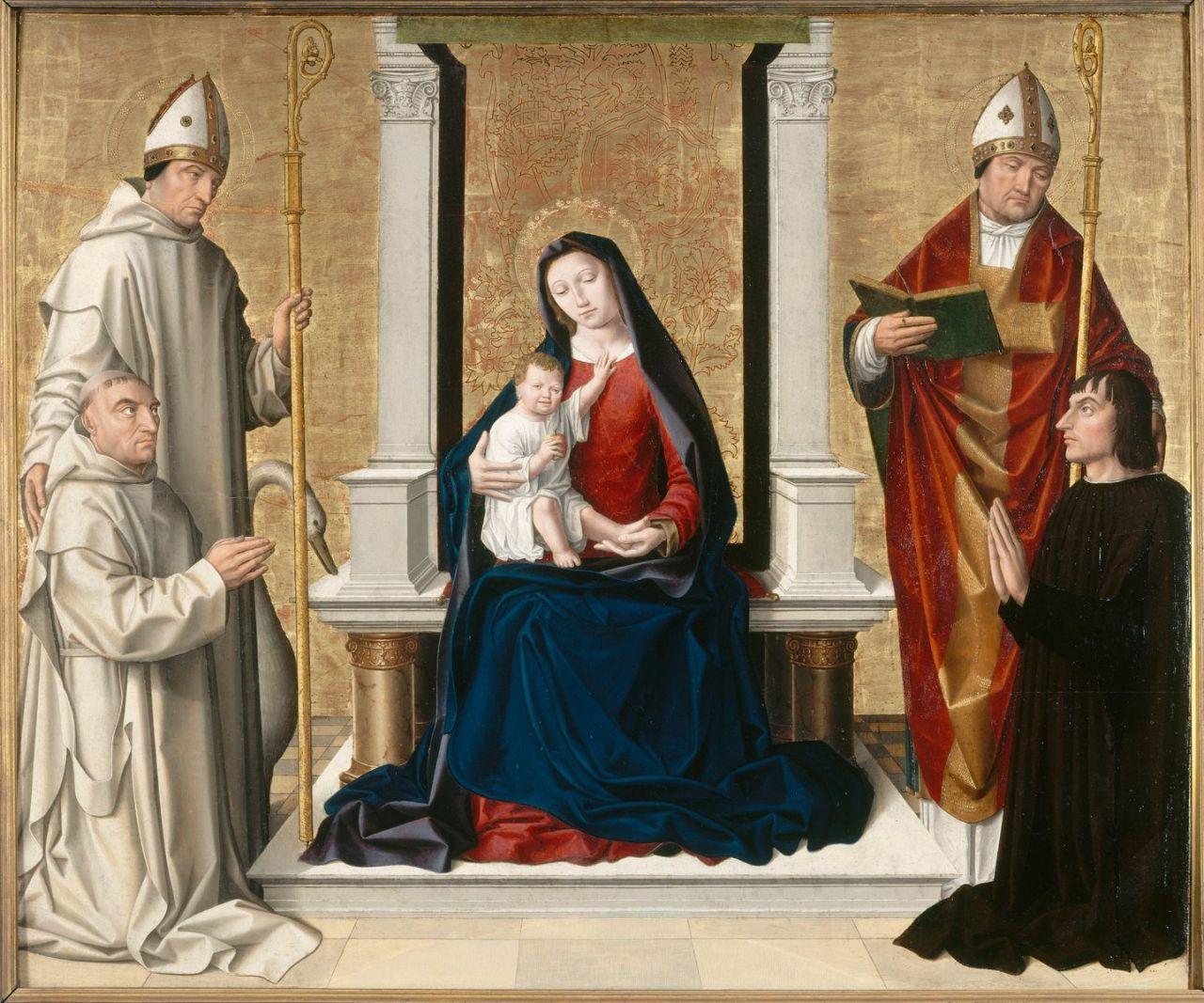 1500 ca Anonyme avignonnais Vierge a l'enfant avec St Hugues, St Ambroise, un chartreux et un laic Musee du Petit Palais Avignon