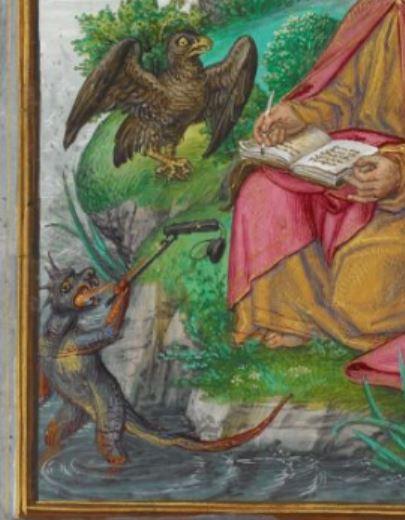 1500 ca Livre d'Heures de Jeanne I de Castille. Saint Jean à Patmos Add. Ms. 35313 f 10v detail