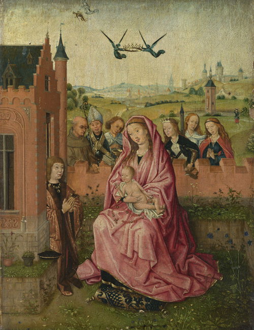 1500 ca Suiveur de Lievin van Lathem The_Virgin_and_Child_with_Saints_and_Donor_-_National_Gallery_London_NG1939