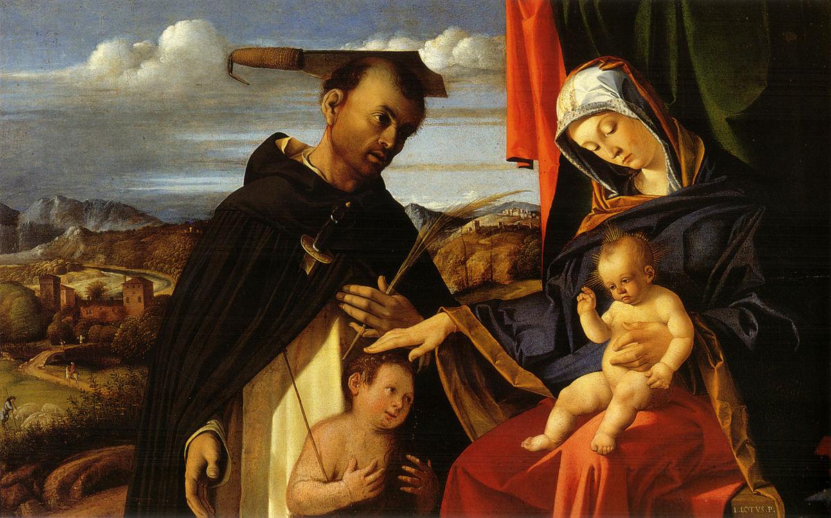 1503 Lotto,_Madonna_col_Bambino,_san_Pietro_martire_e_un_donatore Capodimonte