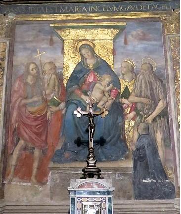 1504 ca Peruzzi Baldassarre, Giovanni Battista, santo, Caterina Onofrio e donatore Chiesa di S. Onofrio al Gianicolo, Roma abside