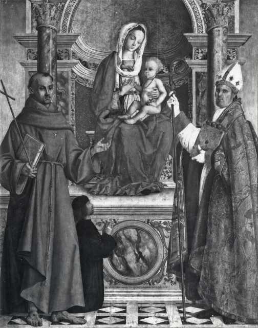 1505 Zaganelli Francesco, Madonna con Bambino in trono tra san Francesco d'Assisi, san Nicola di Bari e il committente Pietro Marinazzo Brera