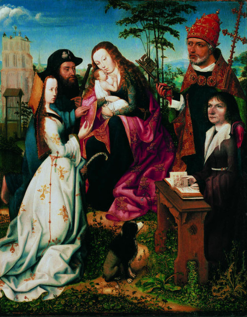 1505 ca Master_of_Frankfurt_-_Madonna_and_Child_with_Saints_and_a_Donor unknown Queensland Art Gallery