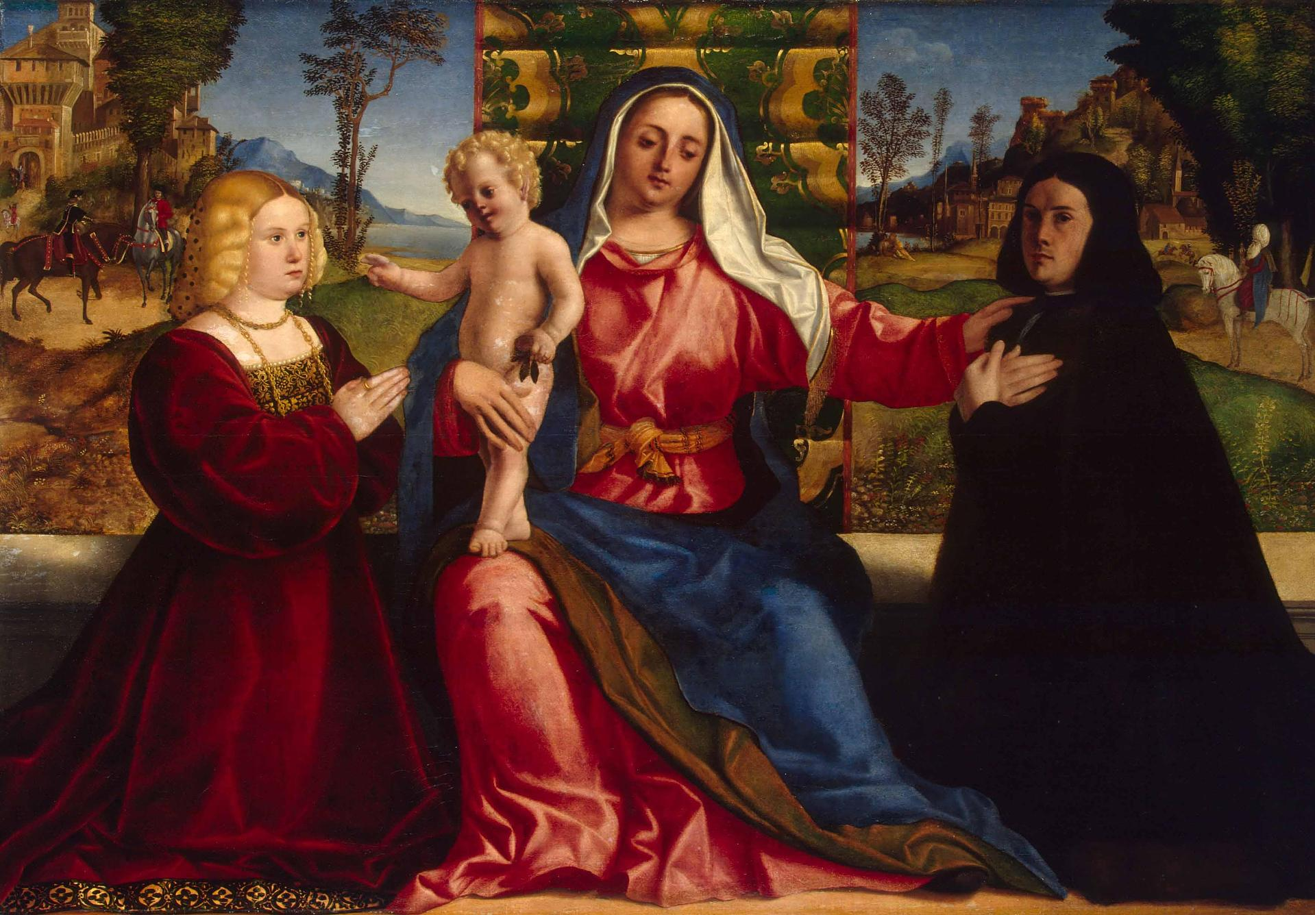 1505 ca Palma le vieux The-Virgin-and-Child-with-donators Ermitage St Petersbourg
