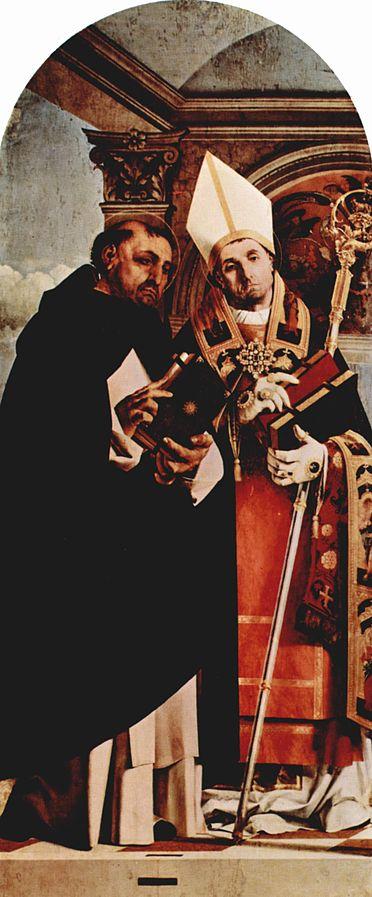 1506-1508 Lorenzo_Lotto_Saint Thomas d'Aquin et Saint Fabiano Detail du polyptique de Recanati, Museo civico, Recanati