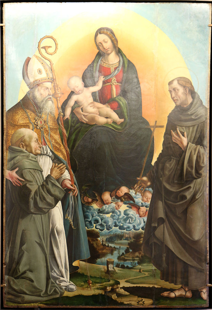 1507 Bononi Bartolomeo, Madonna con Bambino in gloria tra sant'Ambrogio, san Francesco d'Assisi e donatore Musée du Petit Palais, Avignon