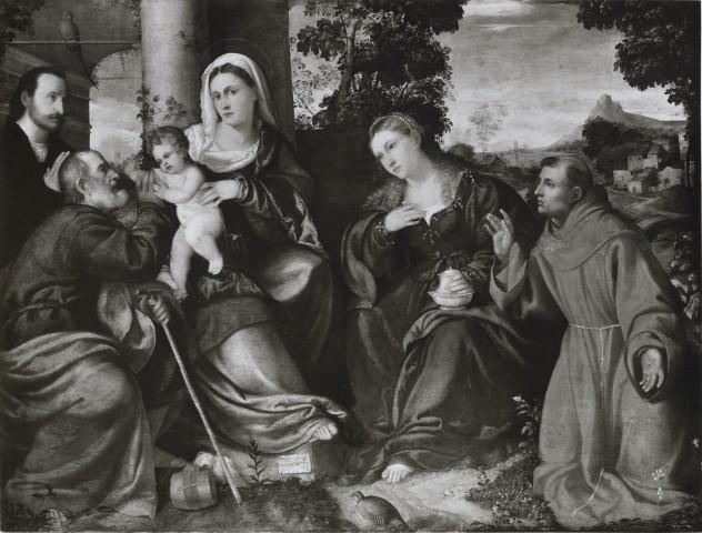 1510-50 Bonifacio de Pitati , Sacra Famiglia con santa Maria Maddalena, san Francesco d'Assisi e un donatore coll priv