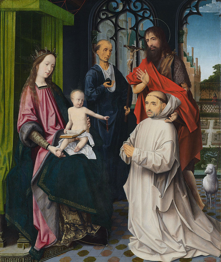 1510 Jan Provoost with_Sts_Jerome_and_John_the_Baptist_and_a_kneeling_Carthusian_monk__Jan_Provoost attributed Rikj