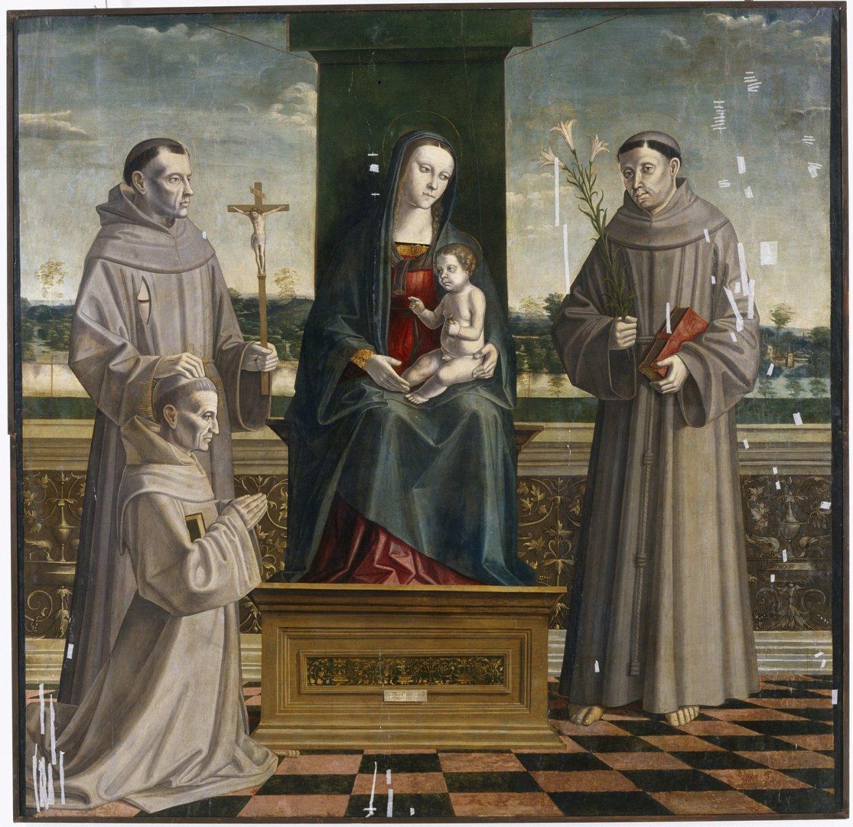 1510 ca Tommaso Aleni Madonna_col_bambino Antoine de Padoue Francois e il beato Amedeo Menez de Sylva Museo civico Cremona