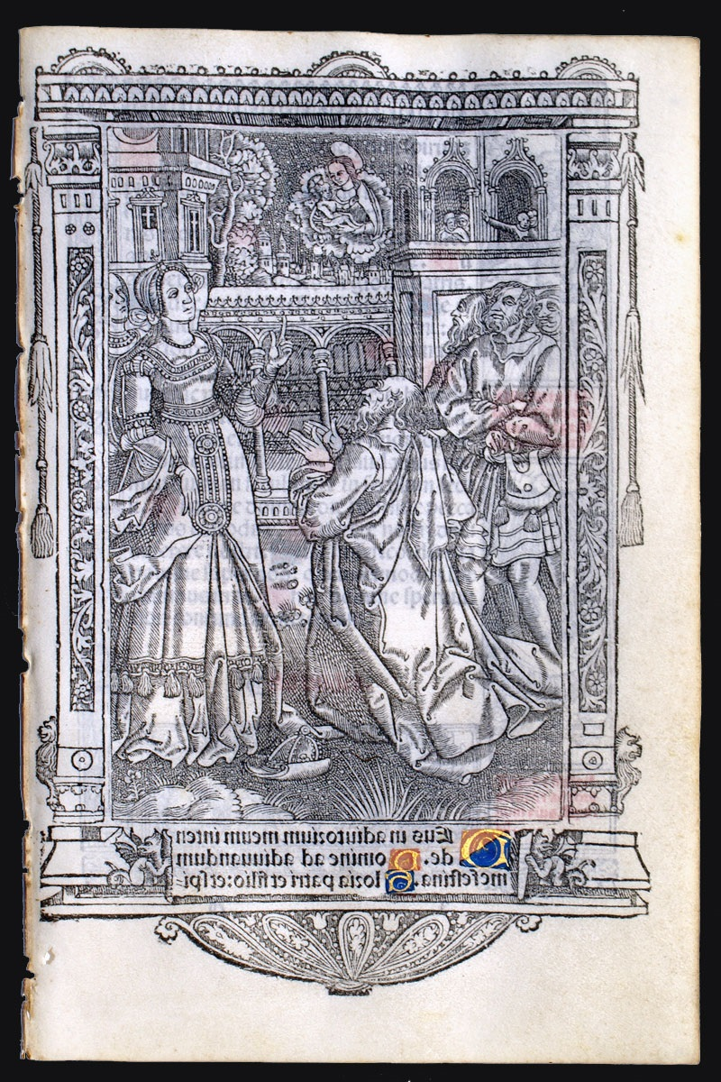 1512 Augustus and Tiburtine Sibyl - c 1512 Produced by Nicolas Higman for Simon Vostre in Paris, Use of Rome, coll priv inversee