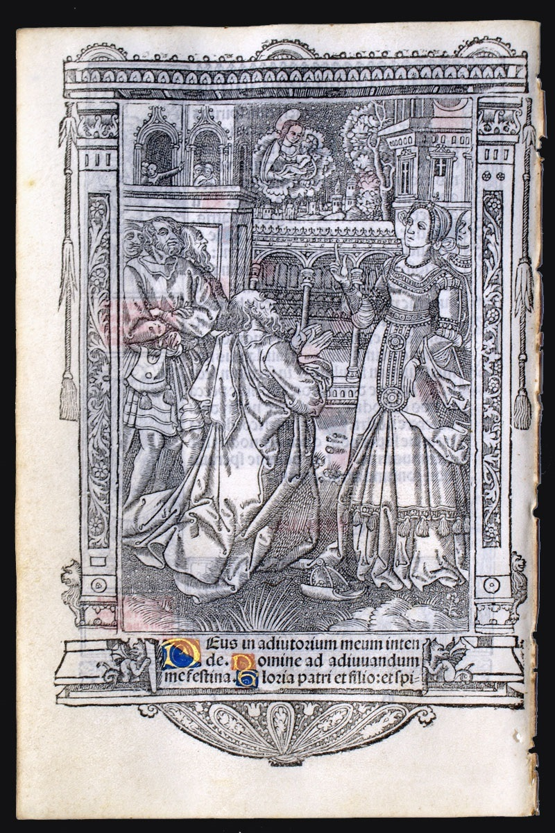 1512 Augustus and Tiburtine Sibyl - c 1512 Produced by Nicolas Higman for Simon Vostre in Paris, Use of Rome, coll priv