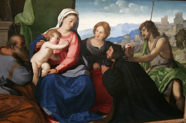 1515-27 Palma Vecchio_ The Holy Family with St. Catherine, St. John and Donor and Self Portrait, Kraljevski Dvor, Belgrade