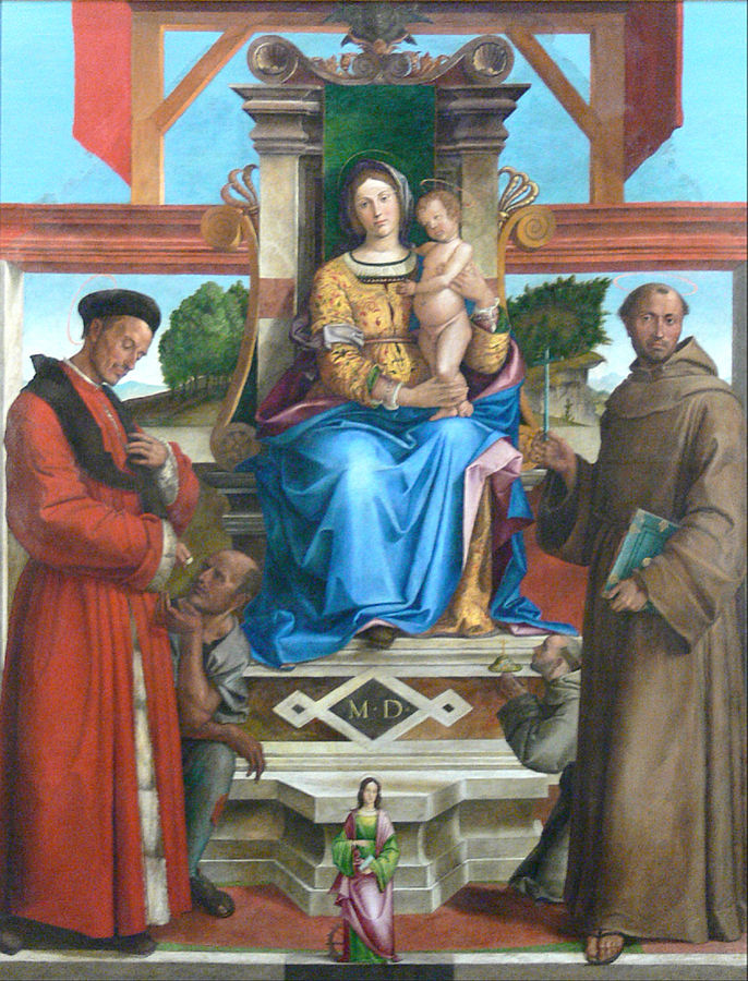 1515 Montagna_Virgin and Child Enthroned with St. Homoborus and a beggar, with St. Francis and the Blessed Bernardo da Feltre, and Saint Catherine