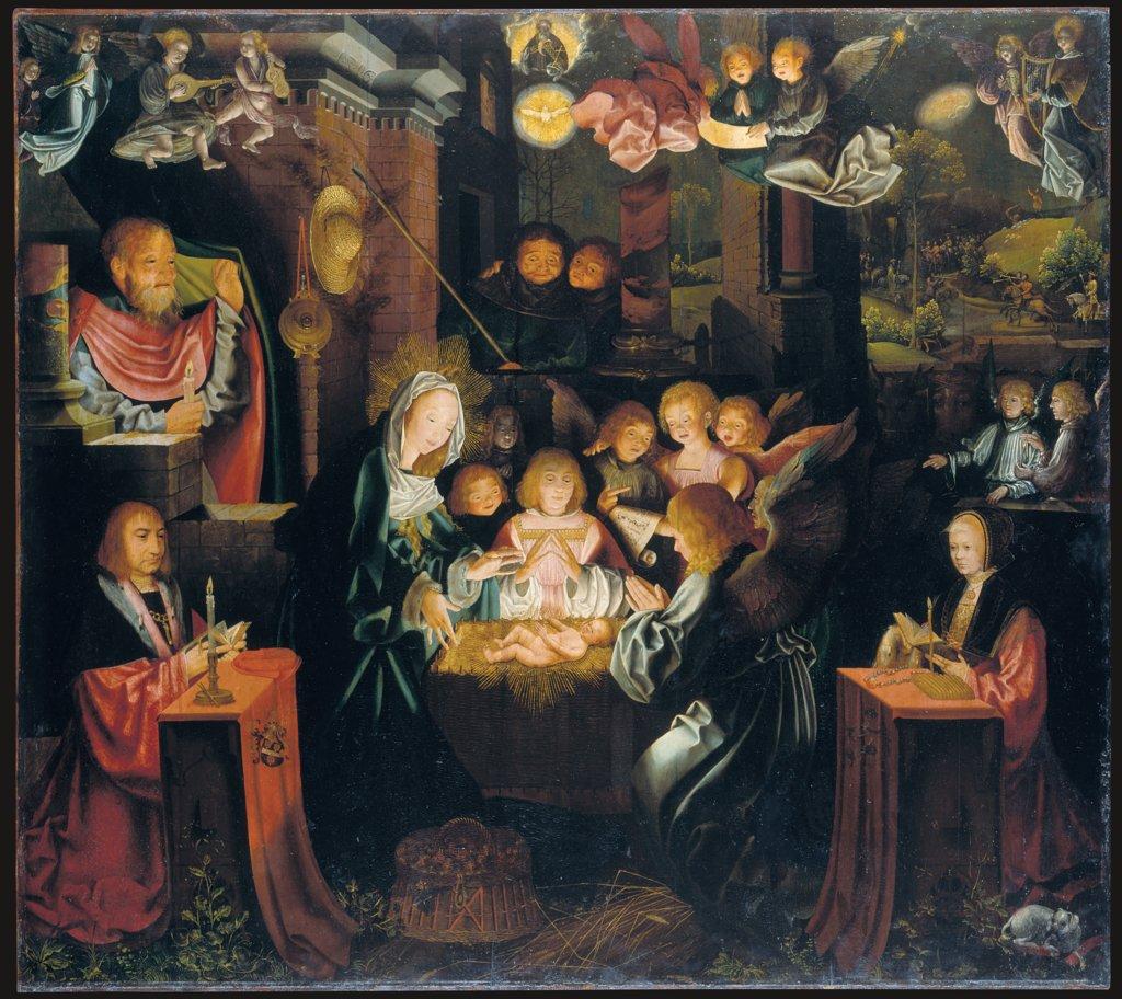 1516 BARTHEL BRUYN l'Ancien Geburt Christi mit den Stiftern Peter von Clapis (1480–1551) und Bela Bonenberg (-1528) Staedel