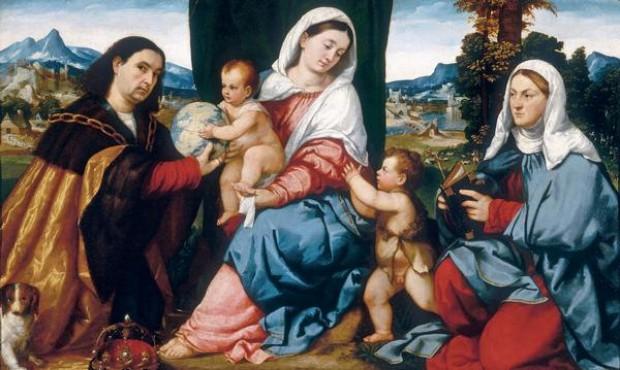 1520-24 Bonifacio Veronese, Madonna col Bambino con i santi Costantino, Elena e Giovannino, Palazzo Pitti, Firenze