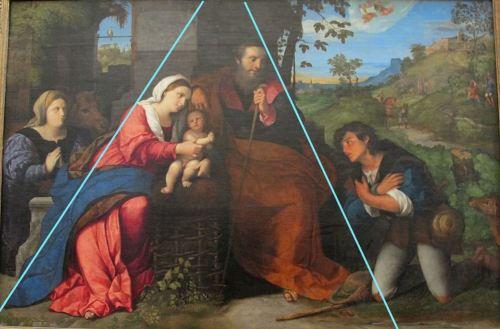 1520-25 Palma_il_vecchio,_adorazione_dei_pastori Louvre Paris sshema