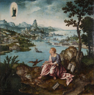 1520-30 Joos_ van_Cleve_and_Lucas_Gassel_-_St._John_the_Evangelist_on_Patmos University of Michigan Museum of Art