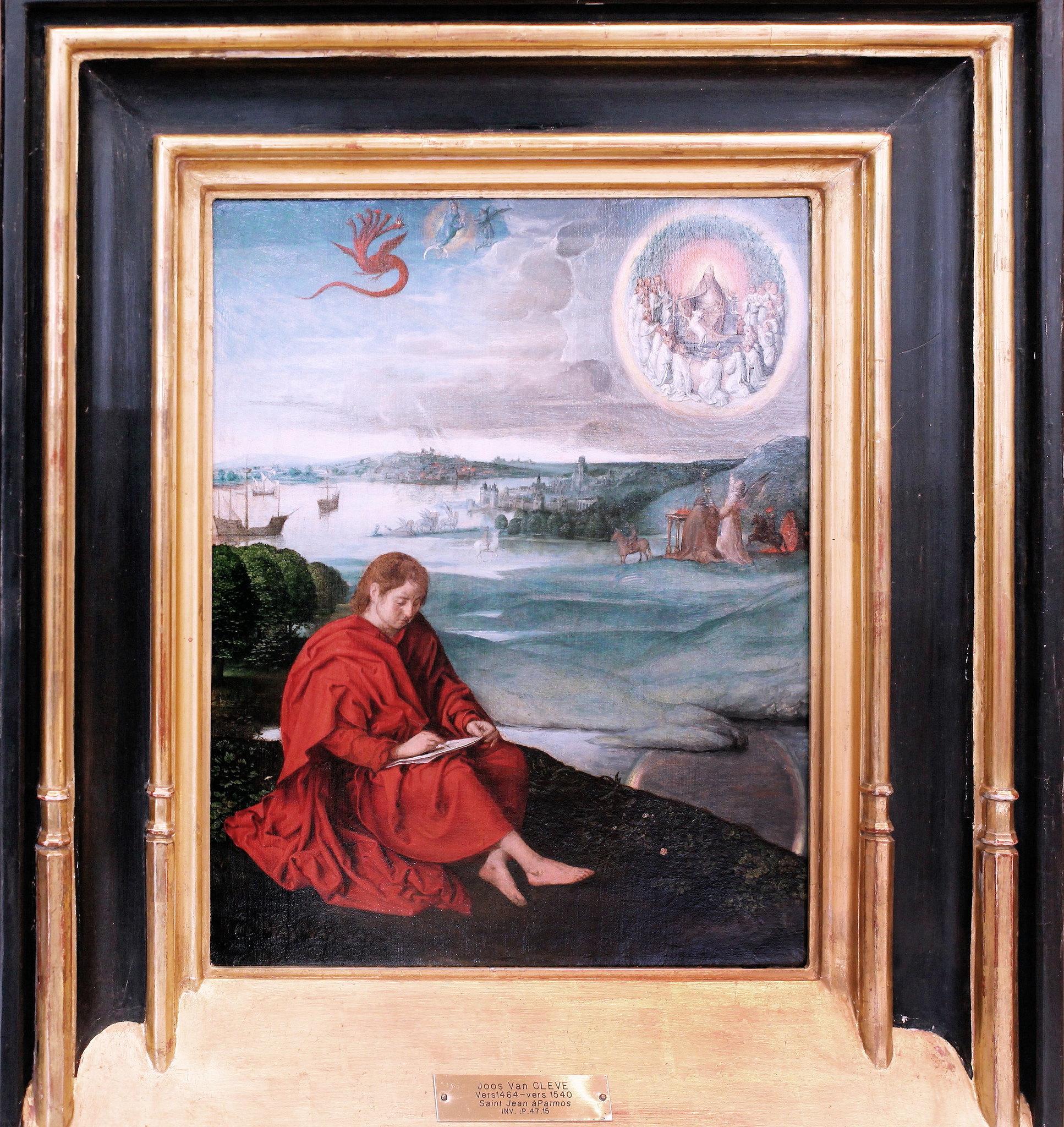 1520-40 Joos Van Cleve Saint Jean a Patmos Valenciennes, musée des BA photo JL Mazieres